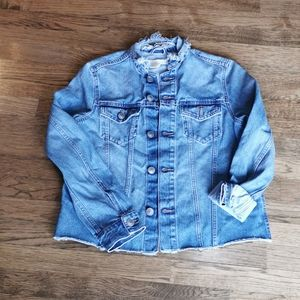 H&M Highly Distressed Faded Denim Jacket 8